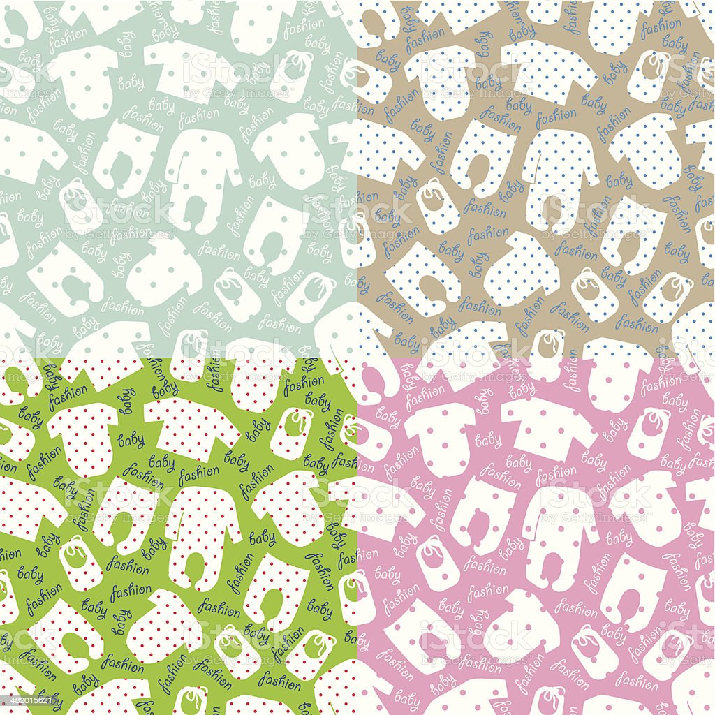 Clothes for newborn baby.Seamless pattern set