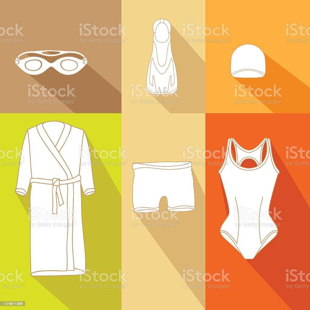 Clothes for swimmers 5 vector art illustration