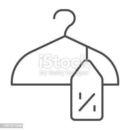 istock Clothes hanger and tag with discount percentage thin line icon, Black Friday concept, Cloth sale sign on white background, coat hanger and price tag icon in outline style. Vector graphics. 1287341538