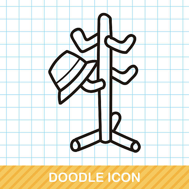 kleidung kleiderbügel gekritzel - bleistifthalter stock-grafiken, -clipart, -cartoons und -symbole
