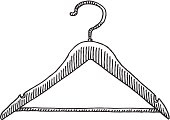Hand-drawn vector drawing of a Clothes Hanger. Black-and-White sketch on a transparent background (.eps-file). Included files: EPS (v8) and Hi-Res JPG.