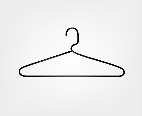 Clothes hanger icon. Metal hanger.
