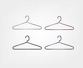 Clothes hanger icon set. Metal hanger.