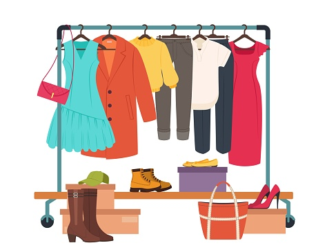 Clothes hanging on rack, garment rail with casual women clothing. Fashion girl wardrobe, female clothes on hangers vector illustration