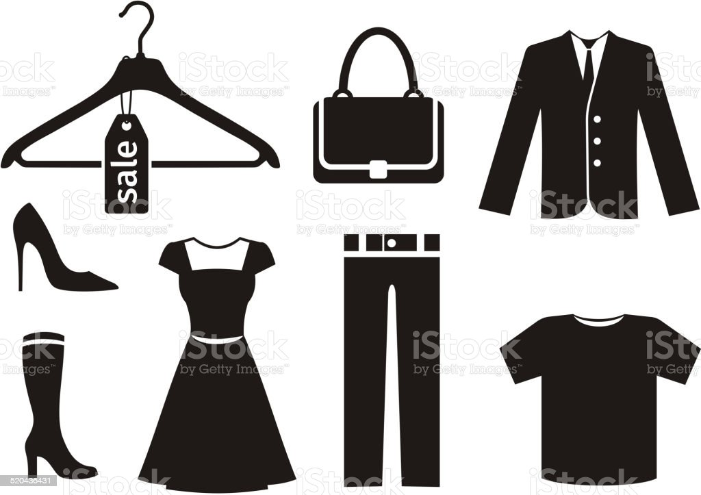 Clothes icon set in black vector art illustration