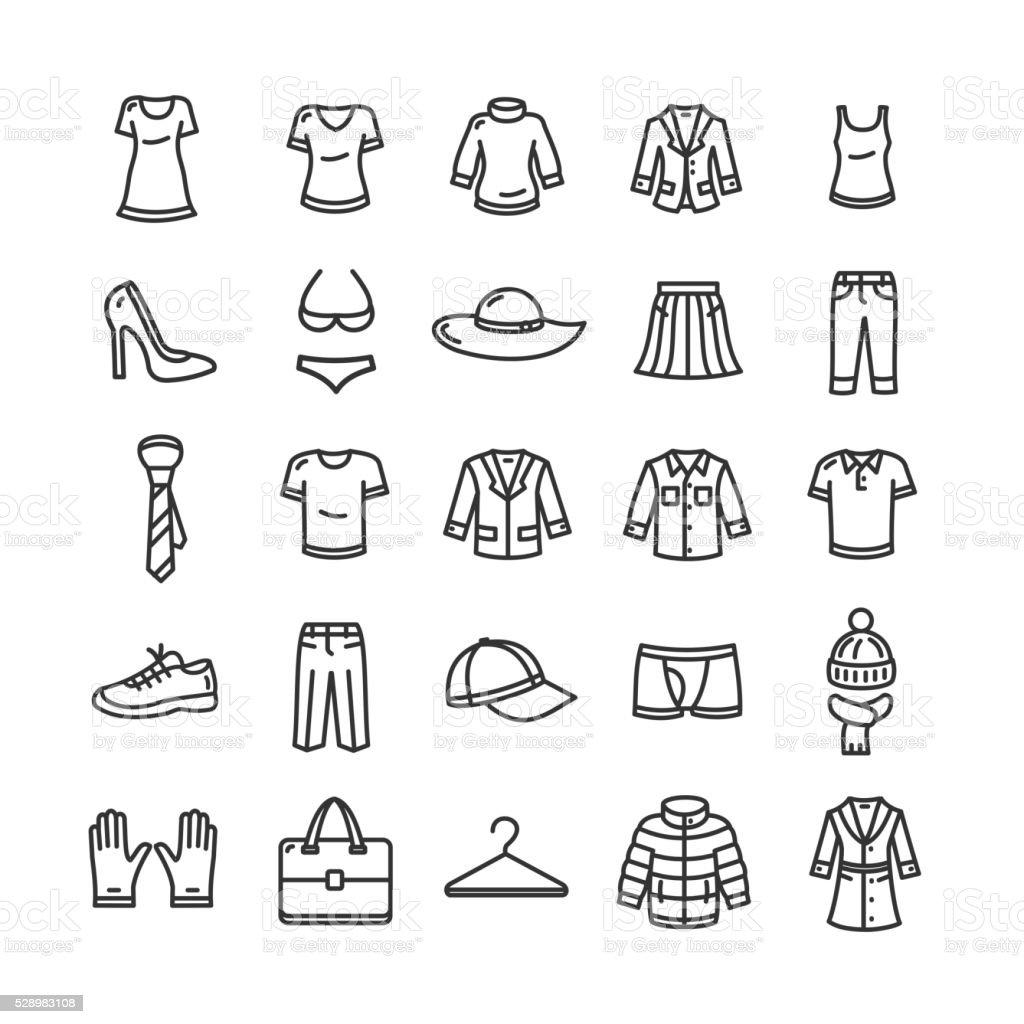 Conjunto de iconos de ropa. Vector de de - ilustración de arte vectorial