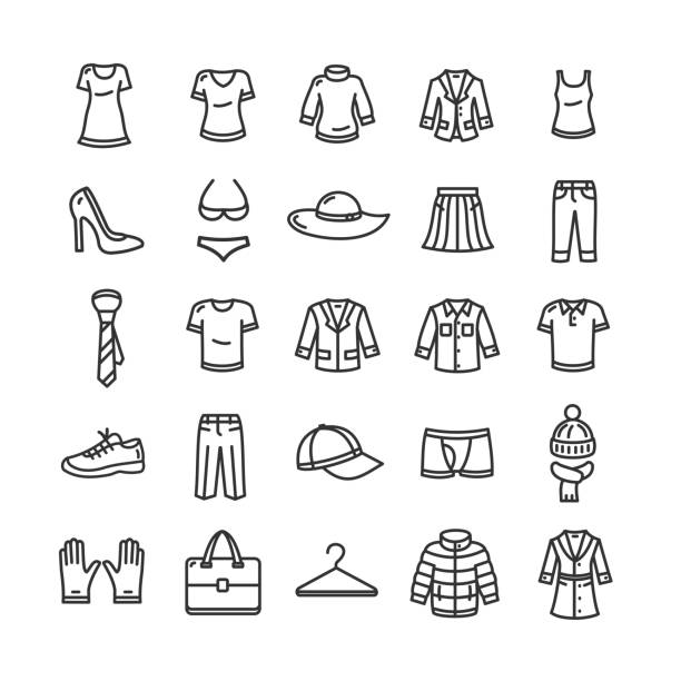 clothes icon set. vector - shoes fashion stock illustrations, clip art, cartoons, & icons