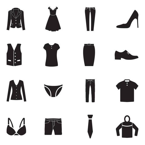 illustrations, cliparts, dessins animés et icônes de icônes de vêtements. design plat noir. illustration vectorielle. - homme slip