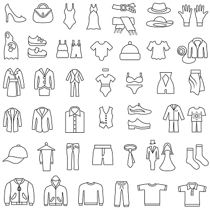 Clothes Icons Editable Outlines