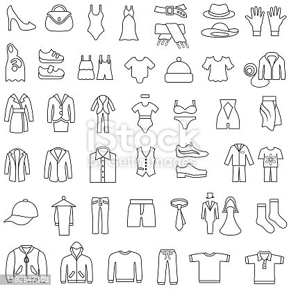 Single color icons of men's and women's clothing. Editable outlines. Isolated.