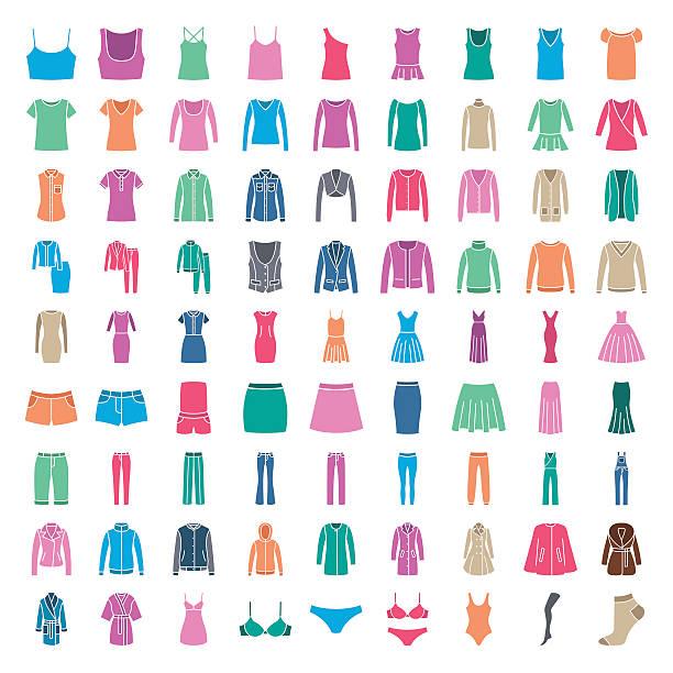 clothes icons. icons women fashion clothes. colored silhouette - pelzmäntel stock-grafiken, -clipart, -cartoons und -symbole