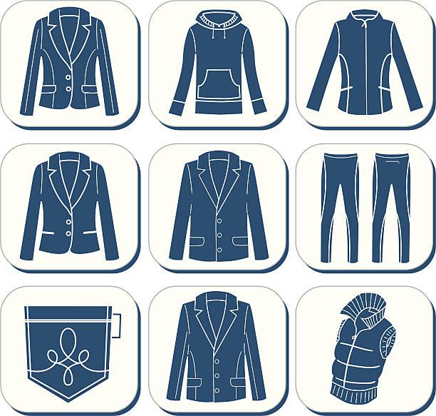 stockillustraties, clipart, cartoons en iconen met clothes icons ii - men blazer