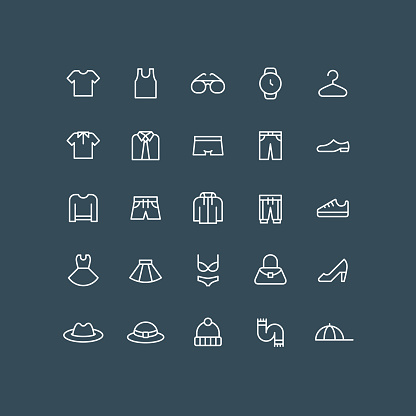 Clothes Icons Outline Editable Stroke