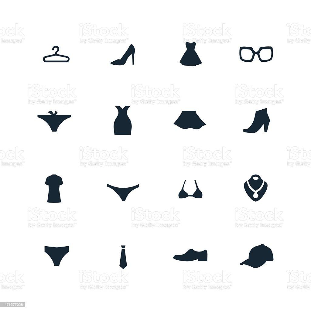 clothes icons set vector art illustration
