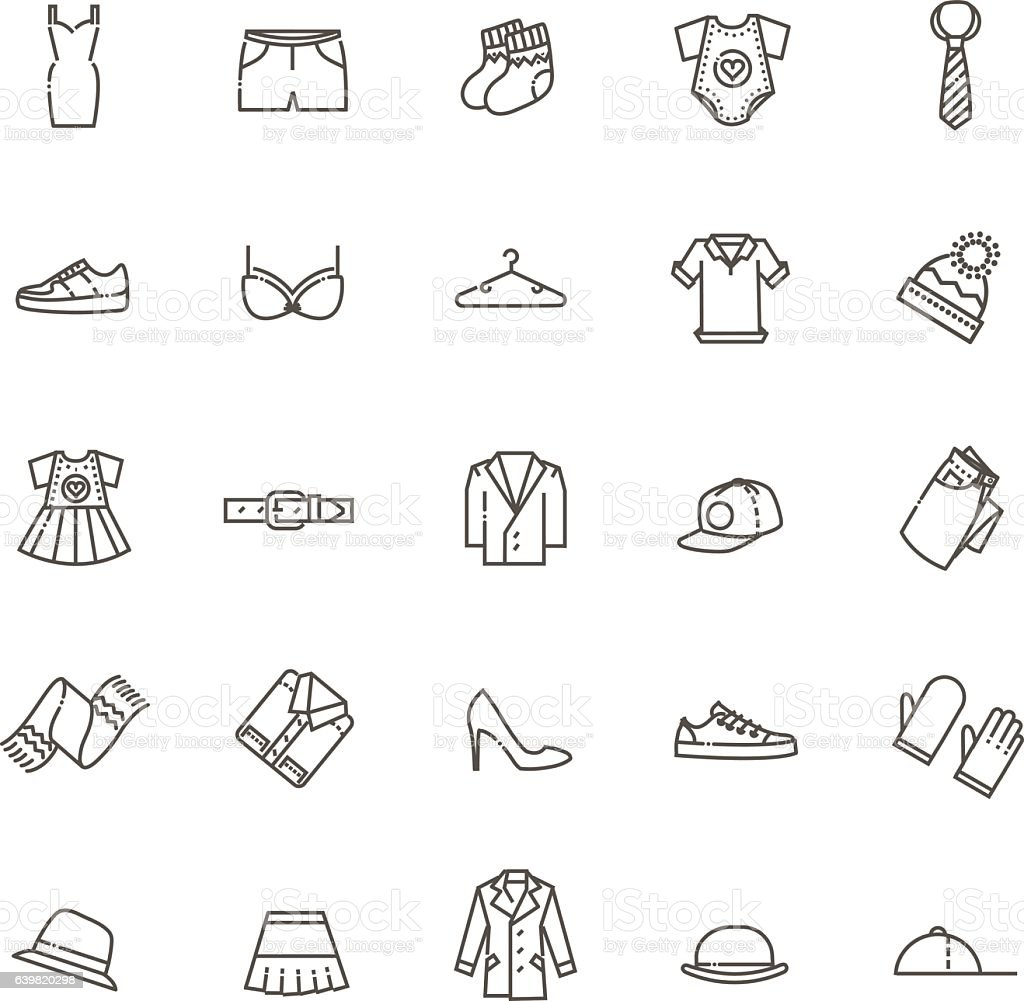 Clothes icons, thin line style vector art illustration