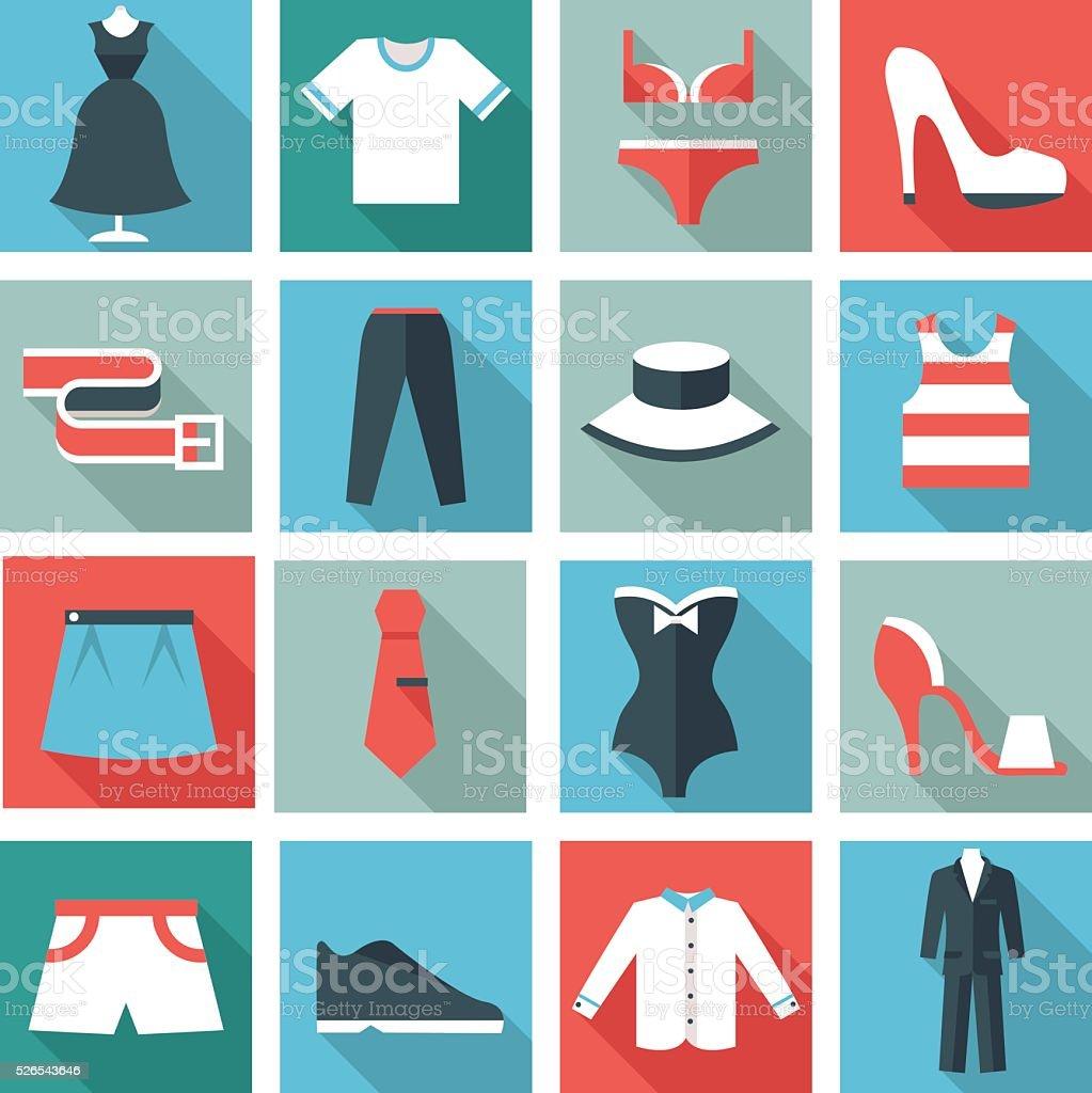 Kleidung Symbole – Vektorgrafik