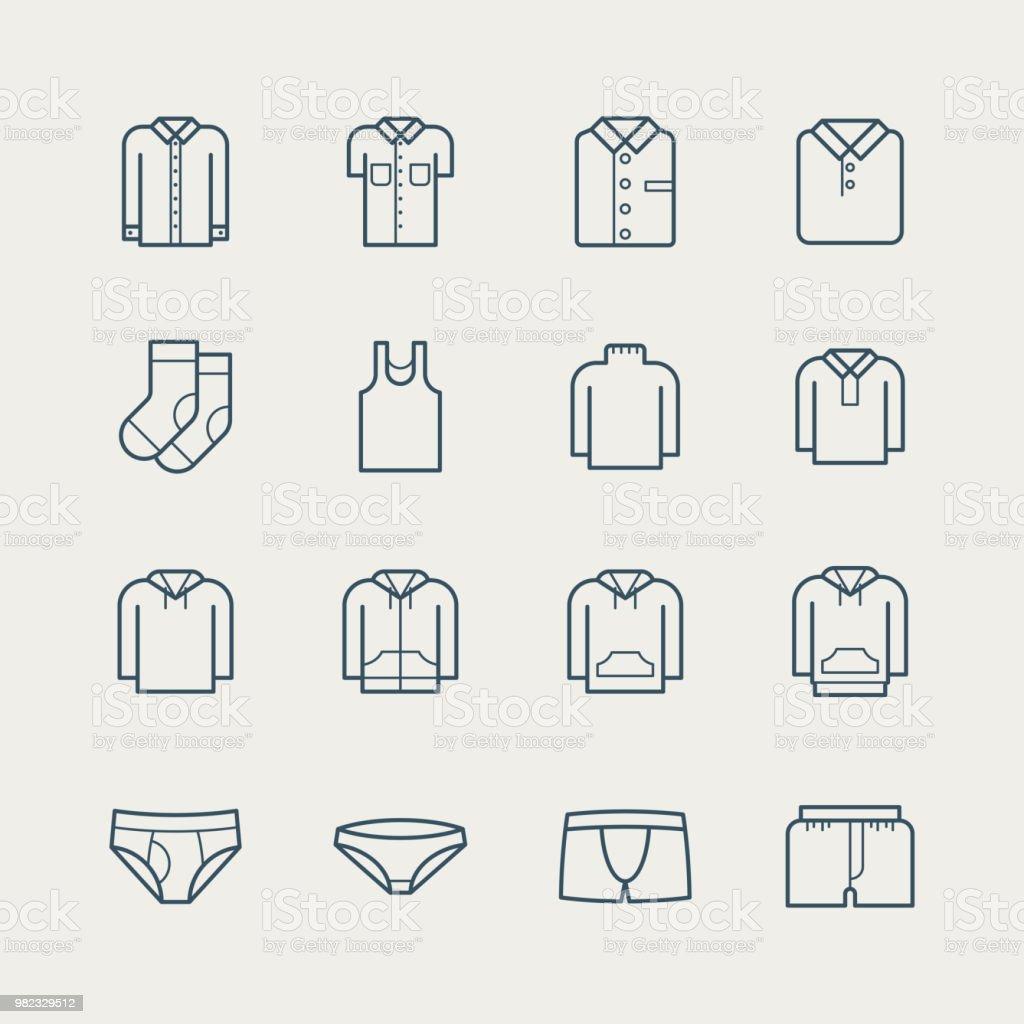 Iconos de ropa - ilustración de arte vectorial