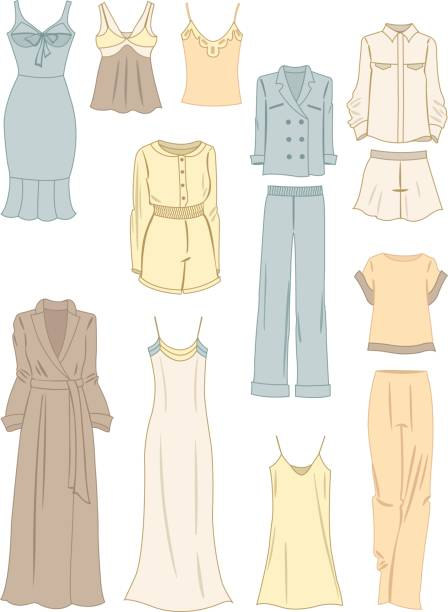 kleidung im pyjama-stil - damenmode stock-grafiken, -clipart, -cartoons und -symbole