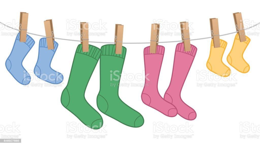d926a7a5900afe Wäscheleine Mit Wolle Socken Familie Set Verschiedene Farben Und ...