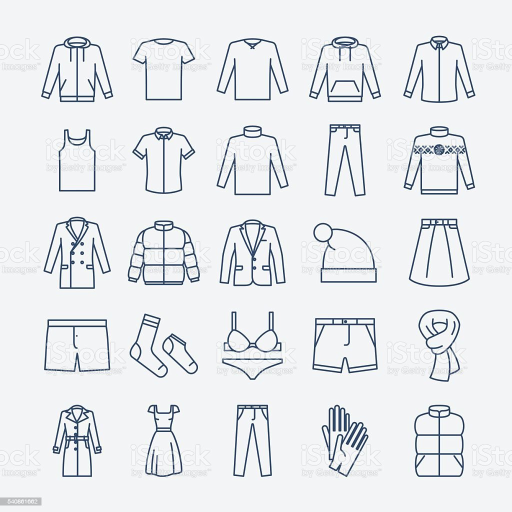 Clothes linear icons royalty-free clothes linear icons stock illustration - download image now