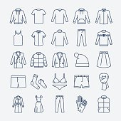 Clothes linear icons
