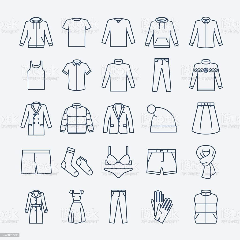 Kleidung linear Symbole – Vektorgrafik