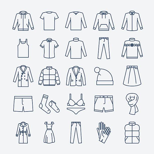 illustrazioni stock, clip art, cartoni animati e icone di tendenza di vestiti icone lineare - giacca