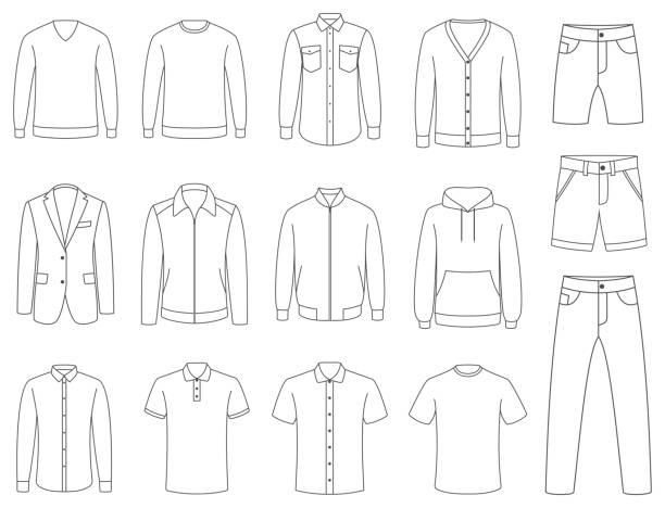 illustrazioni stock, clip art, cartoni animati e icone di tendenza di clothes. male clothing vector - giacca