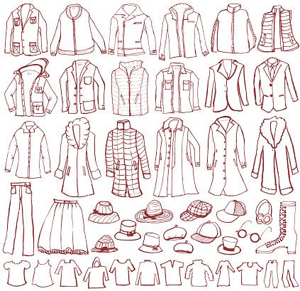 clothes. men's fashion. doodle.
