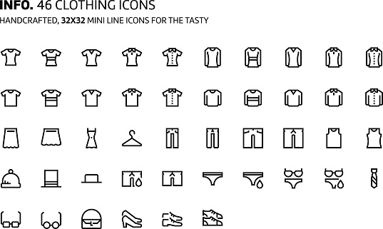 Clothes mini line, illustrations, icons