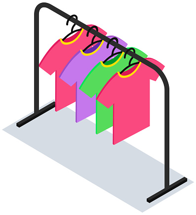Clothes on hanger icon. Tee-shirts on hanger vector icon for web design isolated on white background