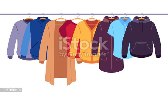 Clothes on hangers. Storage of men and women garments on hangers, apparel hanging on rack, wardrobe inner space flat vector concept. Jacket and coat hoodie and tshirt, pullover hanging