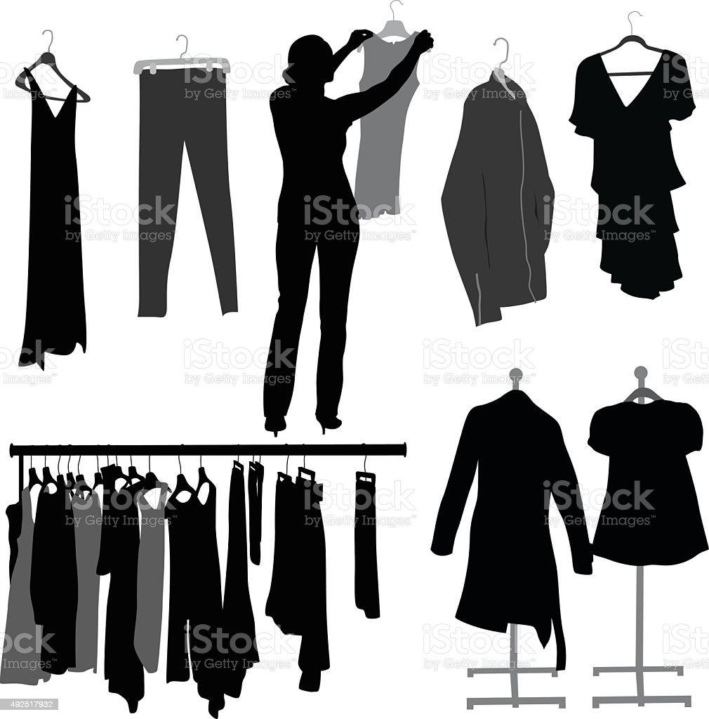 Kleidung auf Bügel – Vektorgrafik