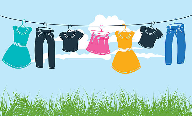 Clothes Dryer Clip Art ~ Royalty free clothesline clip art vector images