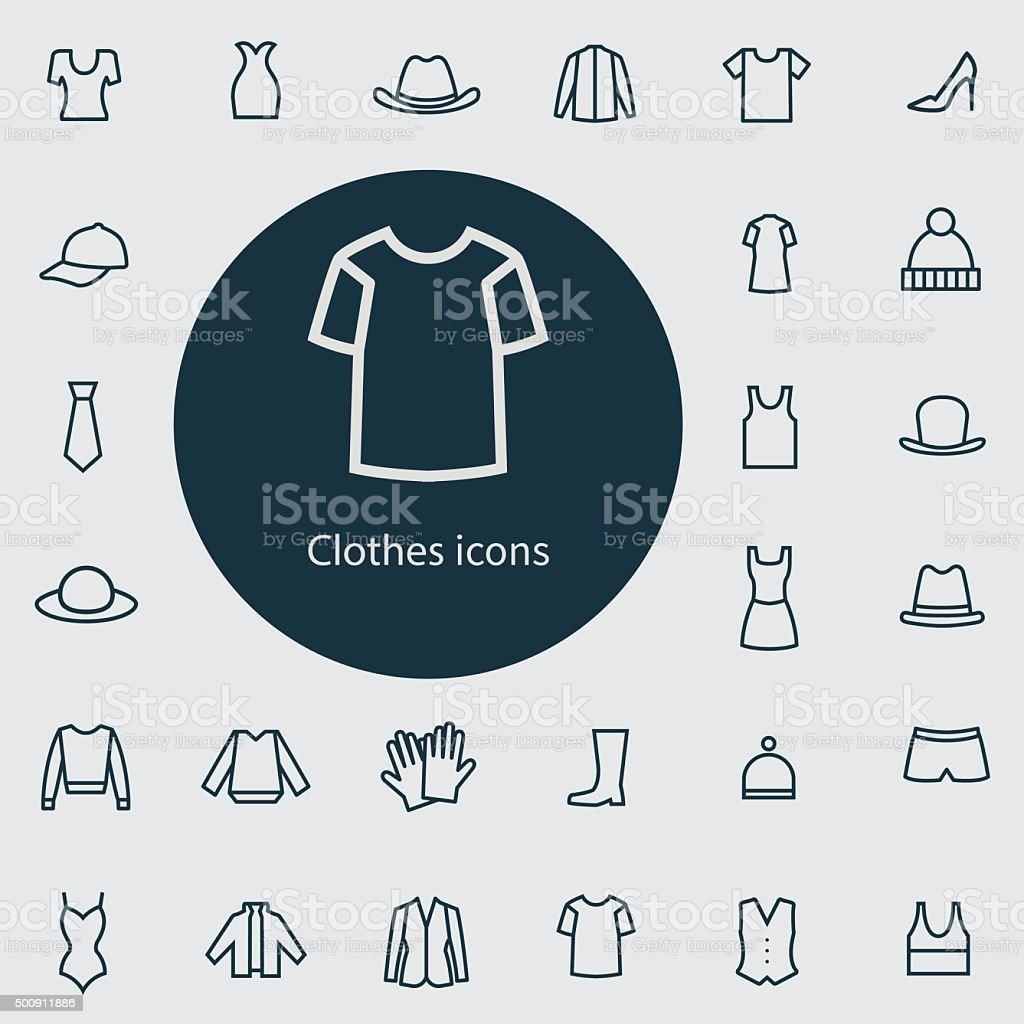 Kleidung, dünne flache outline, icon-set, digital – Vektorgrafik