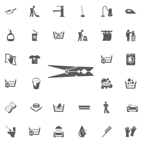 clothes peg icon. clothes peg icon on the white background. Set of cleaning icons peggy's cove stock illustrations