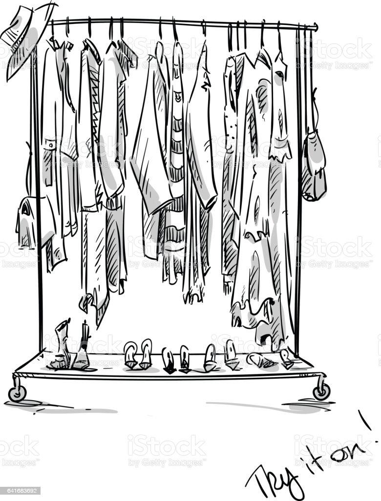 Closet Clothing Dress Hat Ink