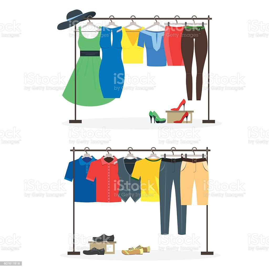 Clothes Racks with Wear on Hangers Set. Vector – Vektorgrafik