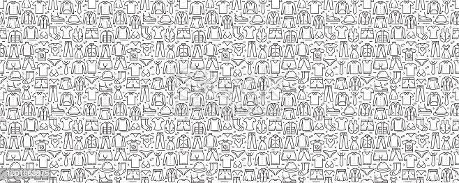 Clothes Related Seamless Pattern and Background with Line Icons