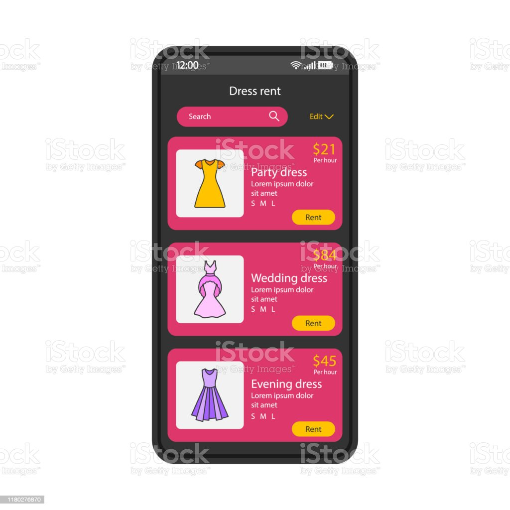 Clothes Rent App Smartphone Interface Vector Template Stock Illustration Download Image Now Istock,Bridal Vera Wang Black Wedding Dress