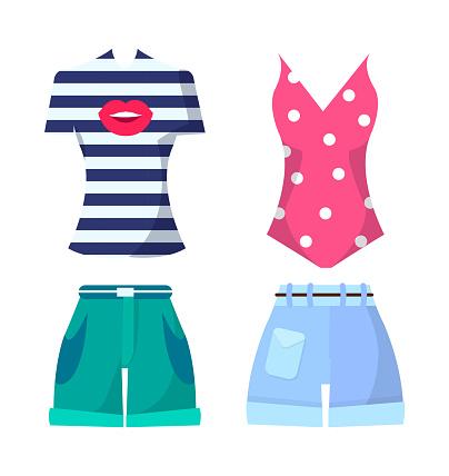 Clothes Set Summer Mode Poster Vector Illustration