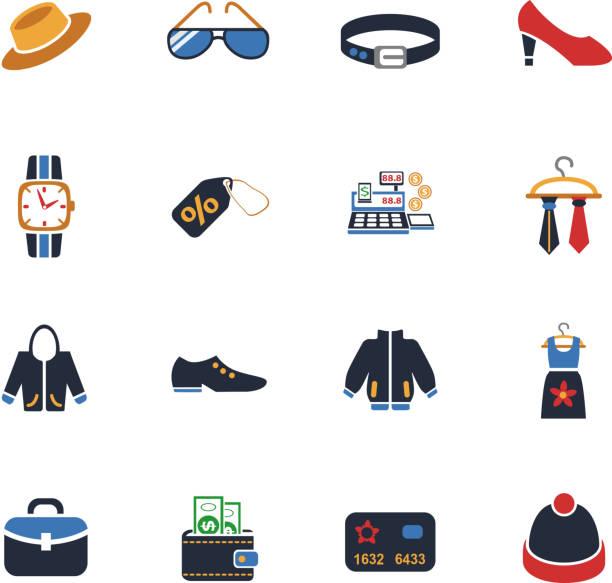 kleidung shop symbol-set - damenmode stock-grafiken, -clipart, -cartoons und -symbole