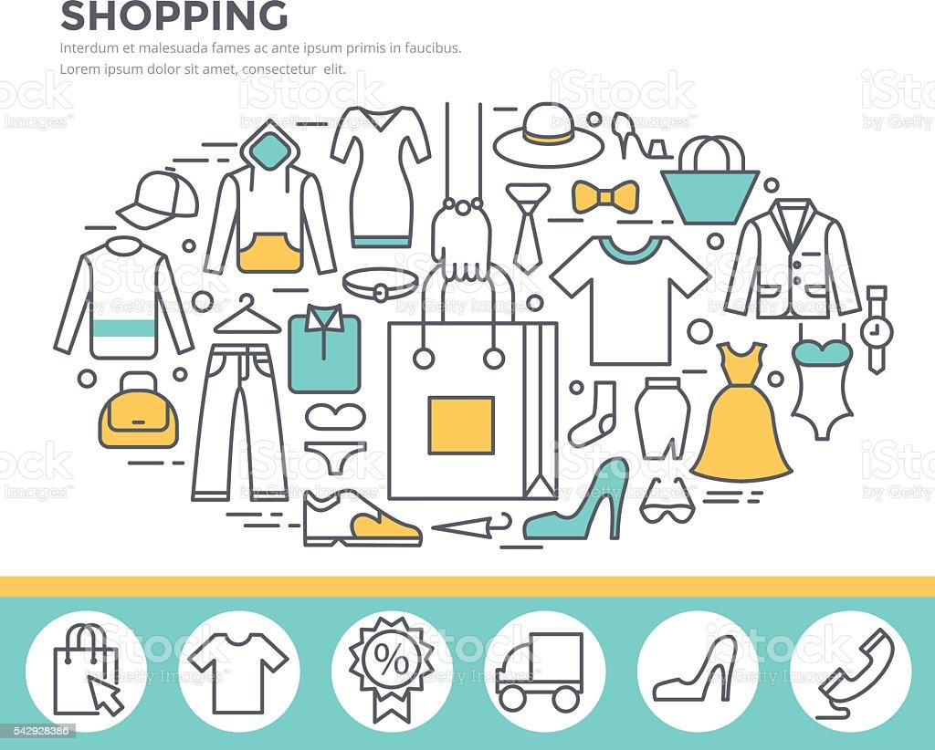 Mode-shopping-Konzept-illustration. – Vektorgrafik