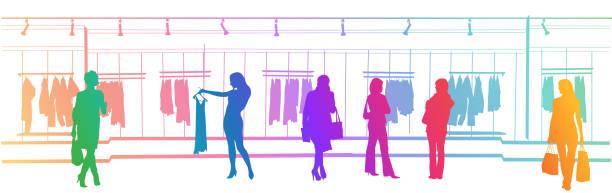 Kleidung Einkaufszentrum Regenbogen – Vektorgrafik
