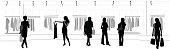 A vector silhouette illustration of women looking at clothes in a clothing store.  One woman holds a dress out in front of her.  Two women have a discussion.  Other women walkg to and fron the racks carrying shopping bags.
