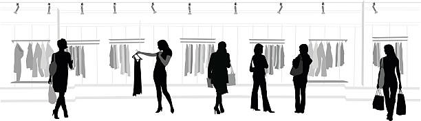 clothes shopping mall - modeboutique stock-grafiken, -clipart, -cartoons und -symbole