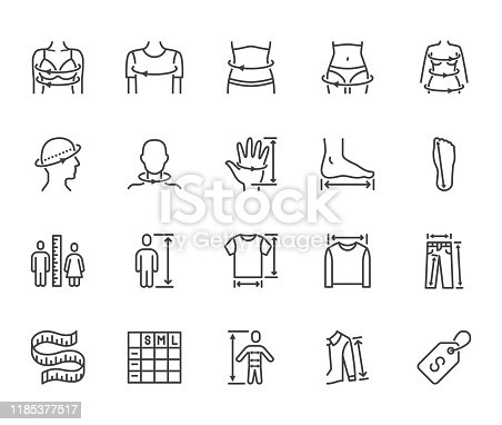 Clothes size flat line icons set. Body measurement waist circumference, hip, chest, sleeve length, height vector illustrations. Outline signs clothing sizes table. Pixel perfect 64x64. Editable Stroke