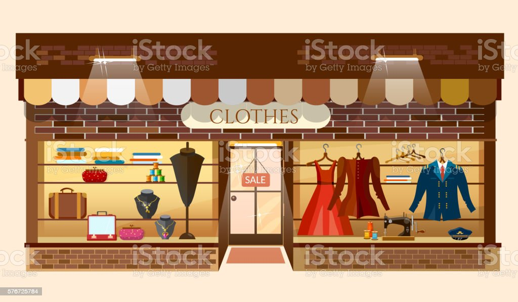Clothes store building facade fashion clothing shop interior vector art illustration
