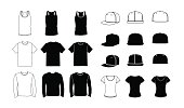 Collection of clothes templates: icons, silhouette, glyph and outline style. Jerkin, common t-shirt, long sleeve t-shirt for men. Rap cap with a flat bill and a t-shirt for women. Vector eps10 illustration.