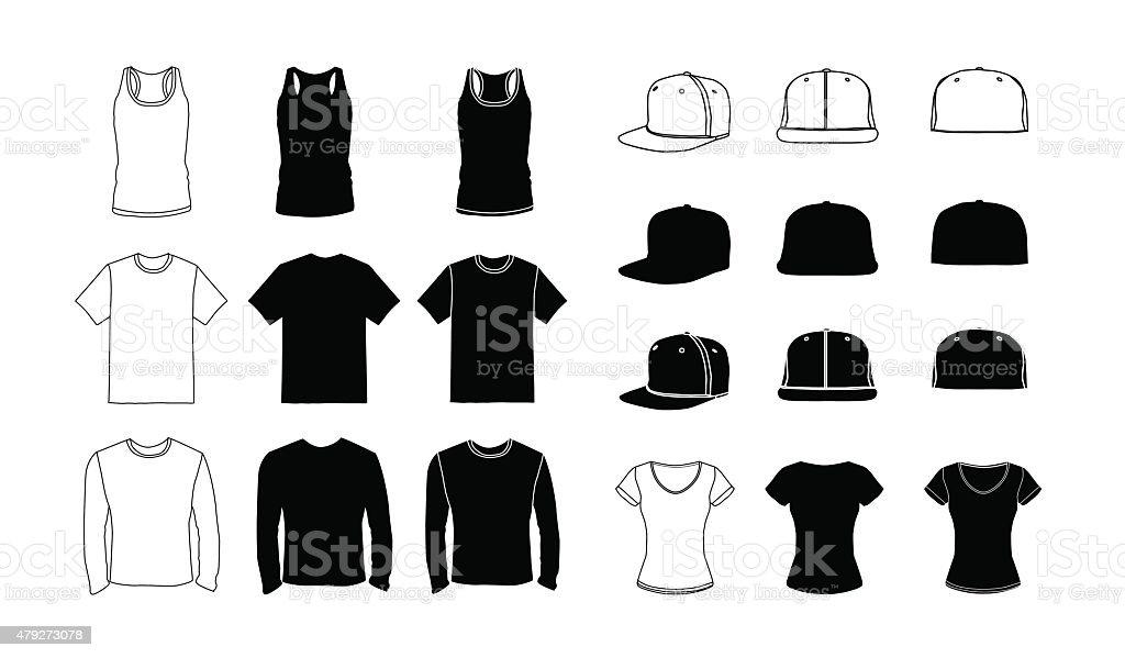 Clothes  template silhouette set vector art illustration
